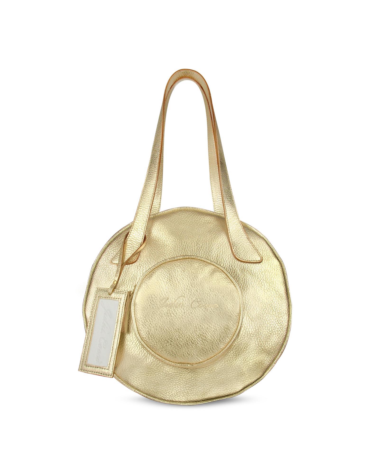 Julia Cocco' Metallic Gold Pebbled Leather Round Tote Bag