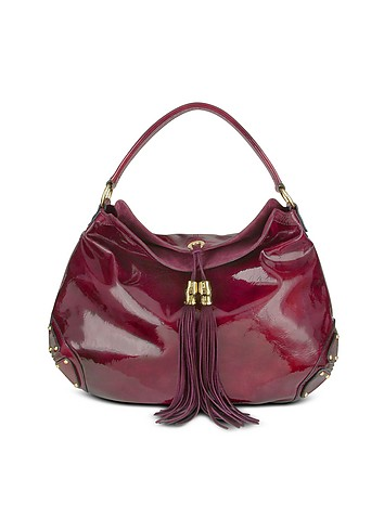 Julia Cocco' Oversize Ruby Red Patent Leather Tassel Hobo Bag :  luxury hobo patent leather bag