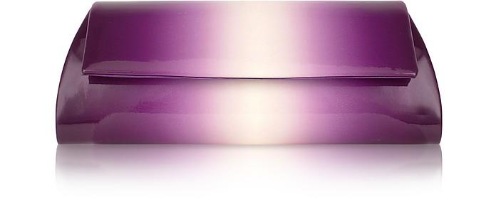 Violet Degrade' Patent Eco-leather Clutch w/Chain Strap - Julia Cocco'