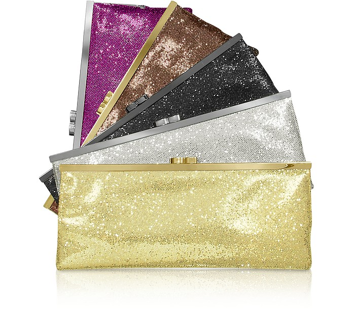 Sequin Kisslock Envelope Clutch w/Chain Strap - Julia Cocco'