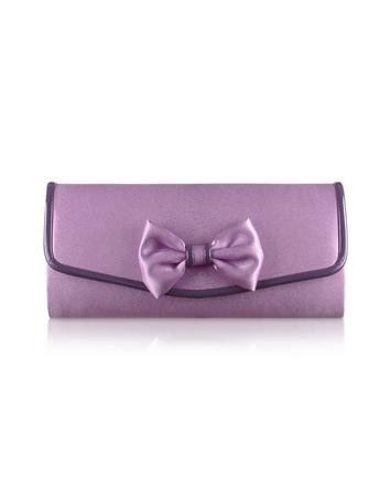 Julia Cocco' Bow Lavender Satin Evening Clutch w/Chain Strap