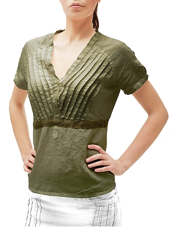 Julia Cocco' - Green Button-front Short-sleeve Linen Tunic