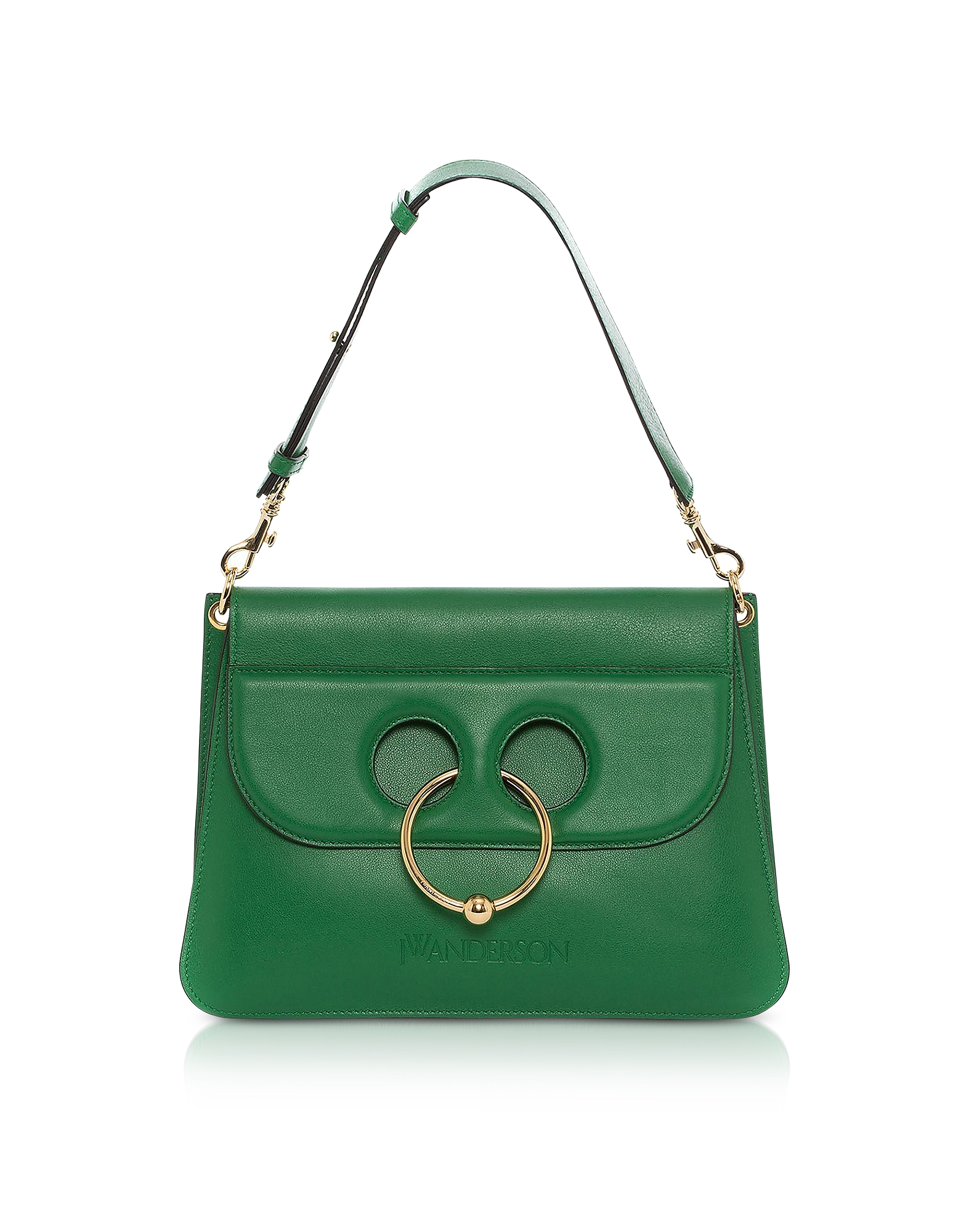 Image of JW Anderson Designer Handbags, Emerald Green Leather Medium Pierce Bag