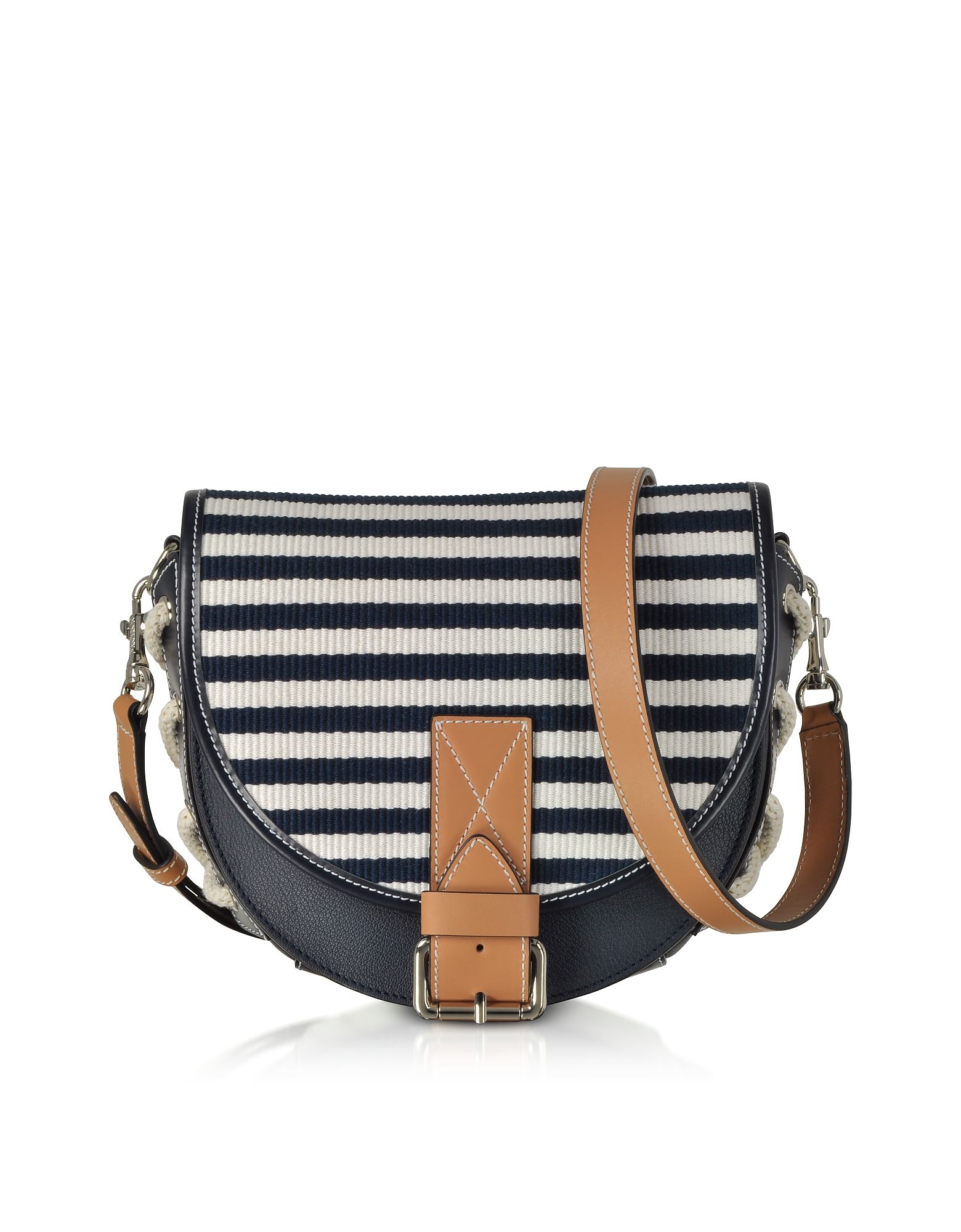 Small Bike Striped Canvas Shoulder Bag