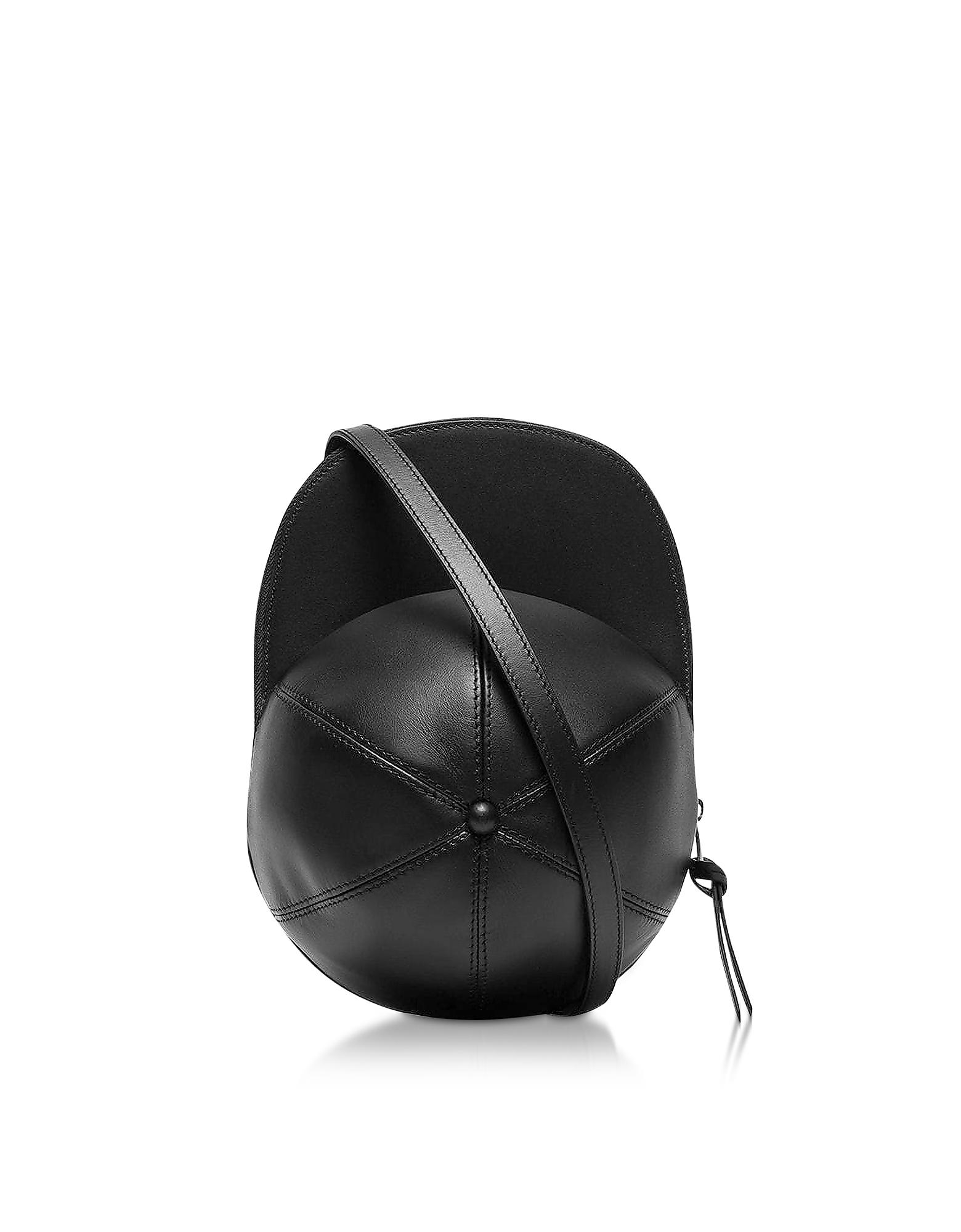 Cap Leather Bag, Black