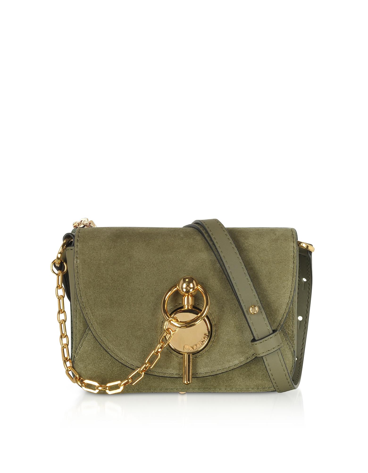 JW Anderson Designer Handbags, Olive Green Suede Nano Keyts Bag