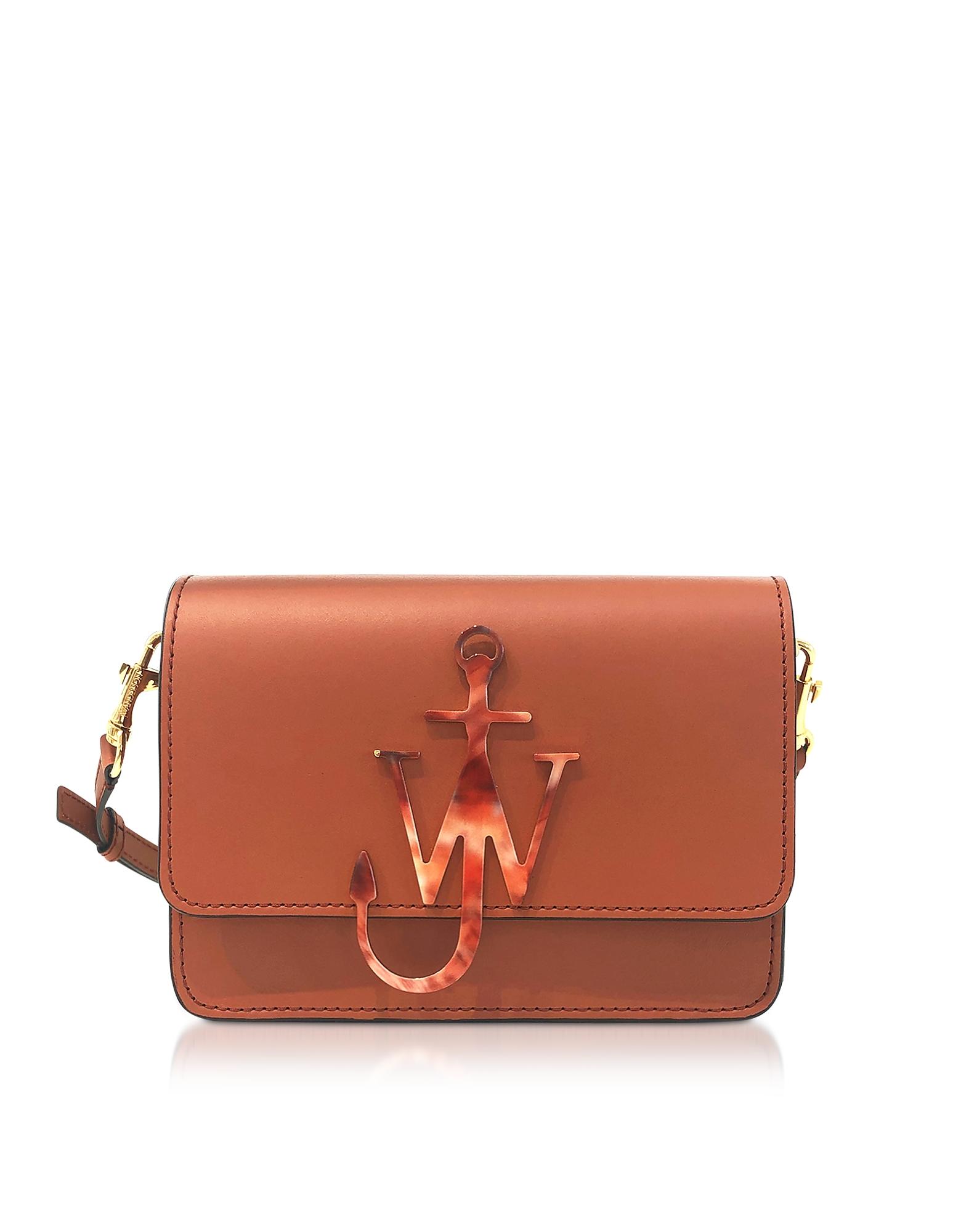 Ginger Leather Anchor Logo Bag, Brown