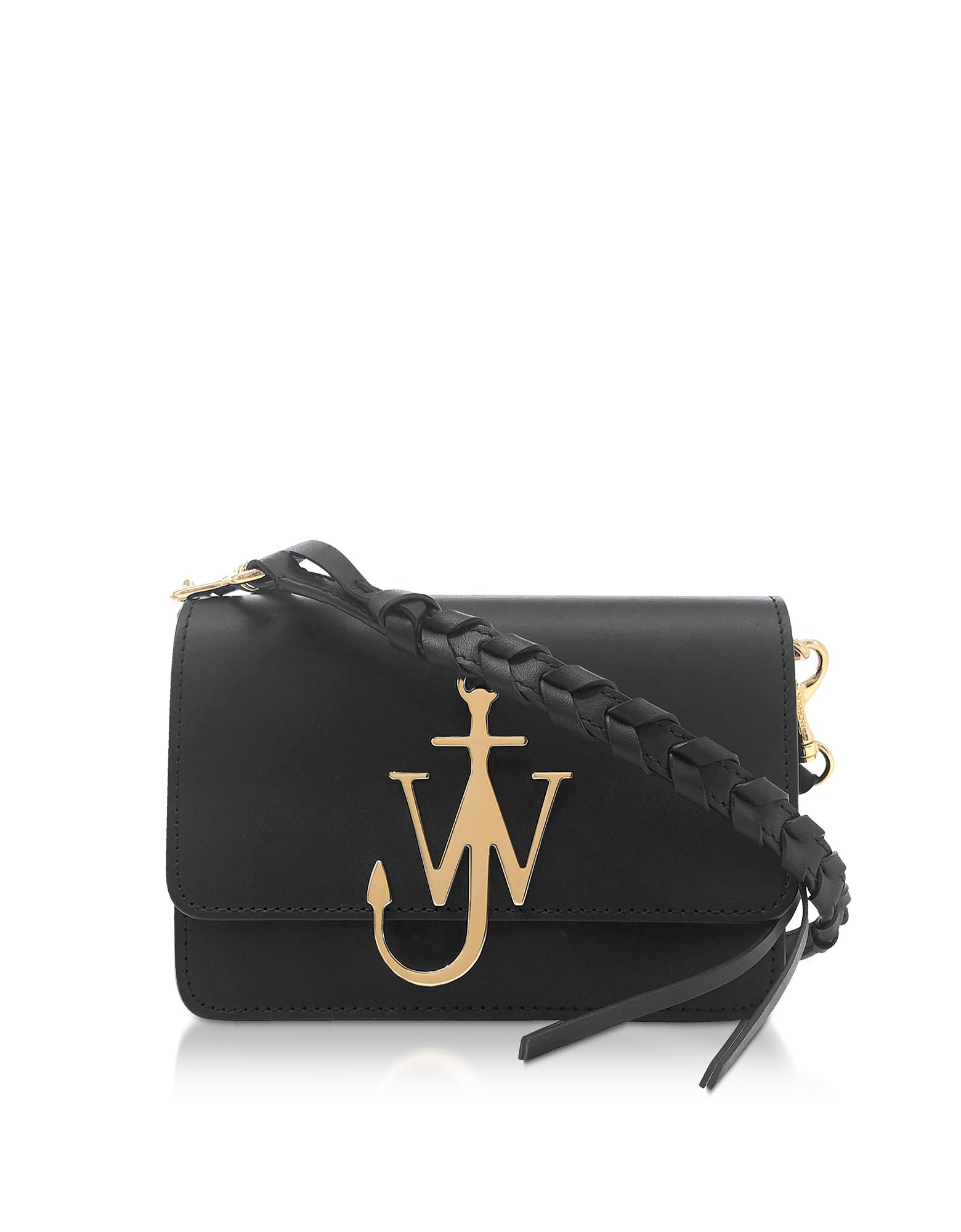 JW Anderson Designer Handbags, Black Anchor Logo Bag w/Braided Shoulder Strap