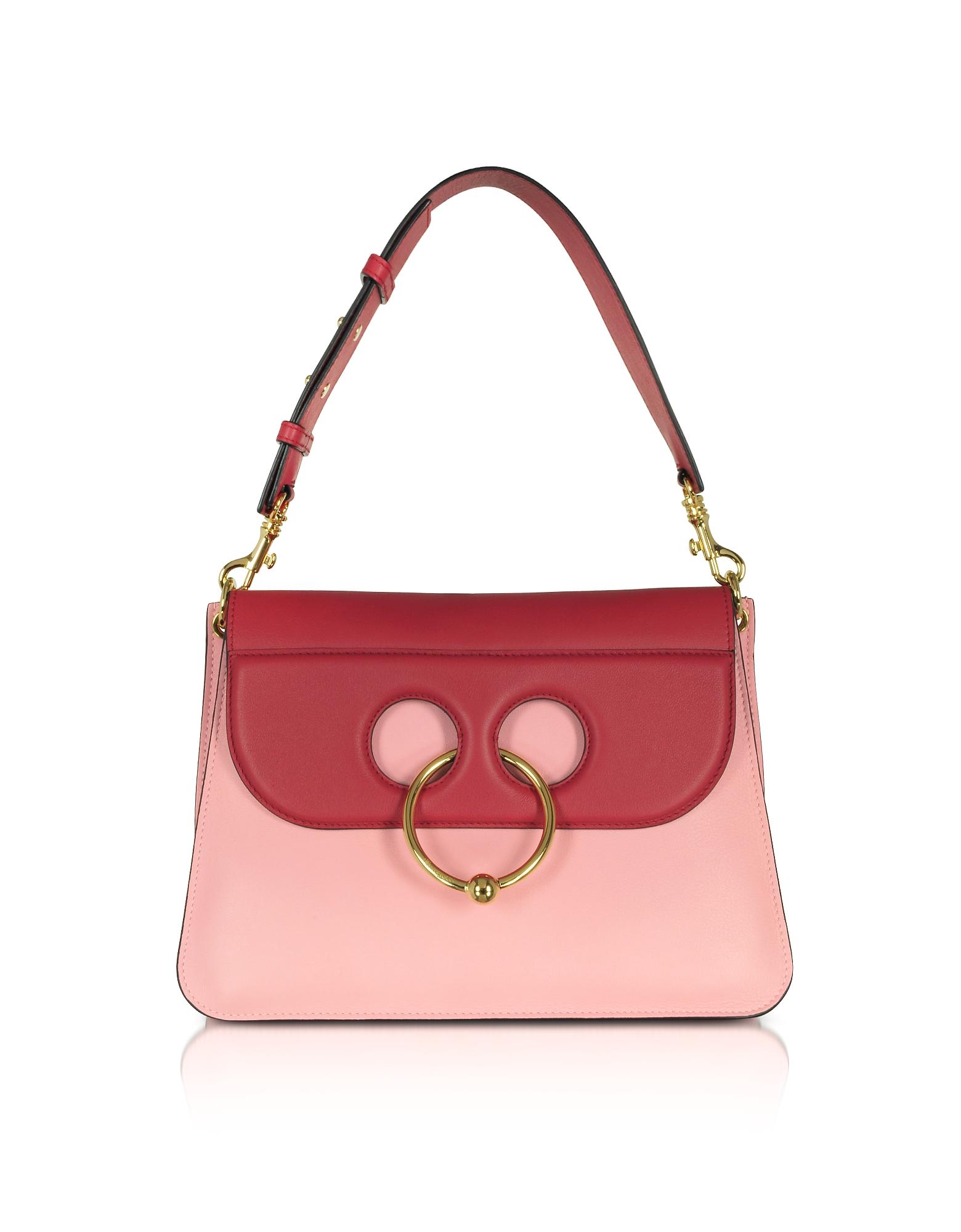 JW Anderson Handbags, Crimson Red and Pink Bubblegum Leather Medium Pierce Bag