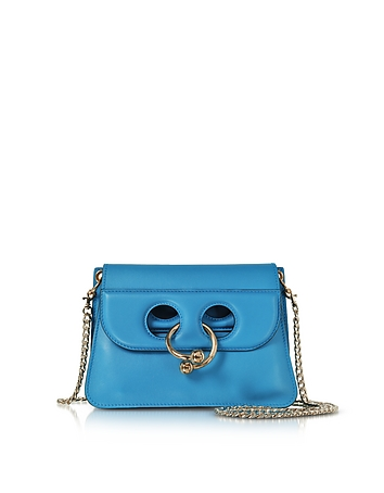 Cerulean Blue Leather Mini Pierce Bag