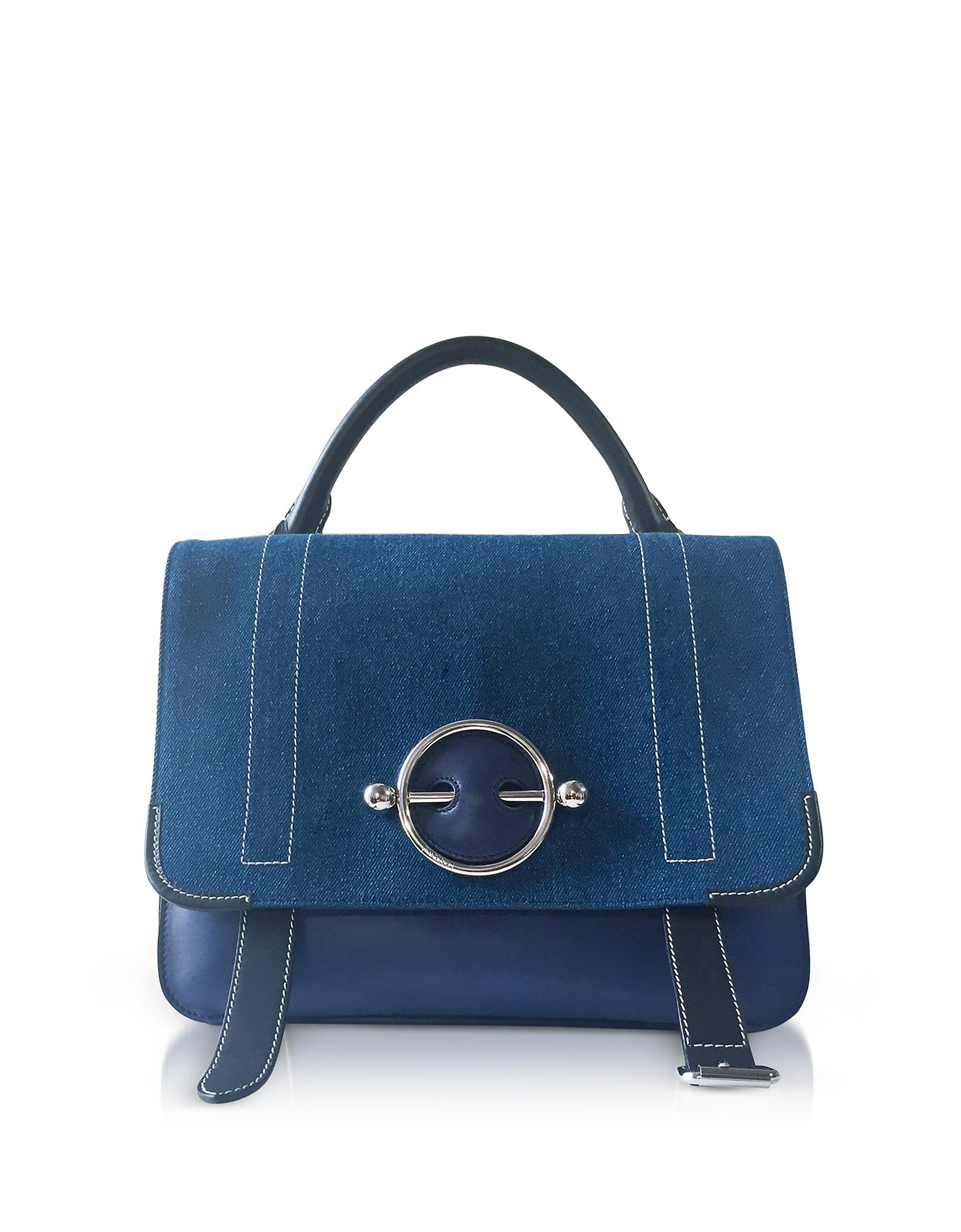 Blue Navy Canvas Disc Satchel Bag