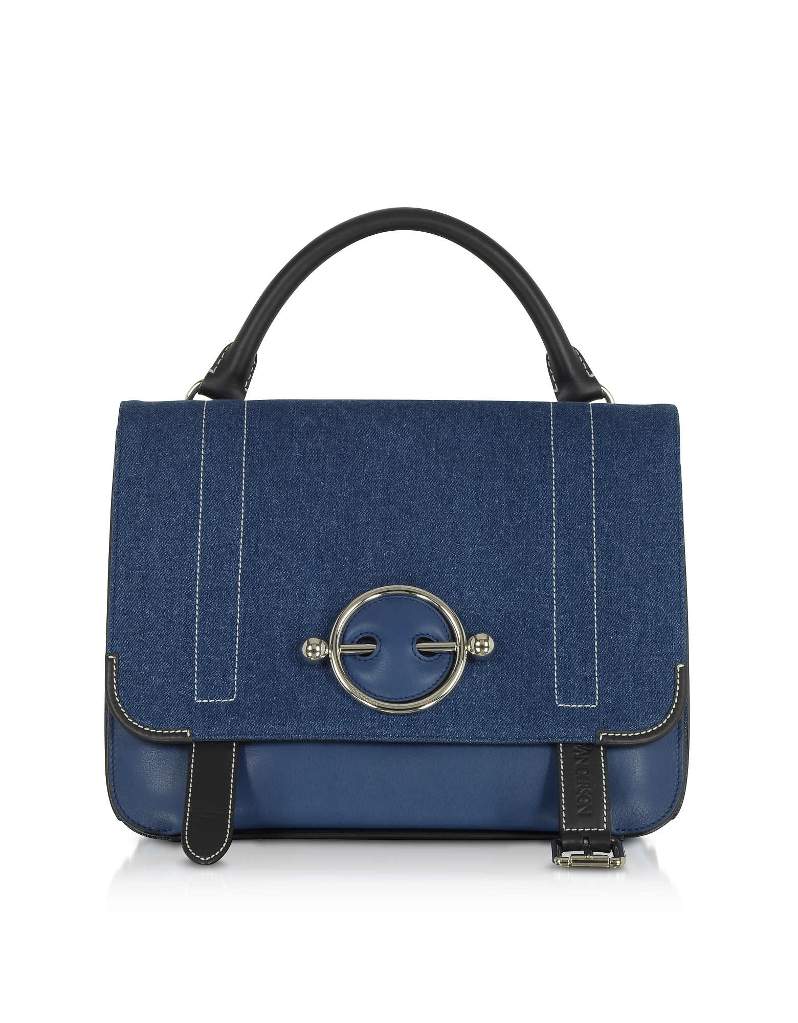 Image of JW Anderson Designer Handbags, Blue Navy Canvas Disc Satchel Bag