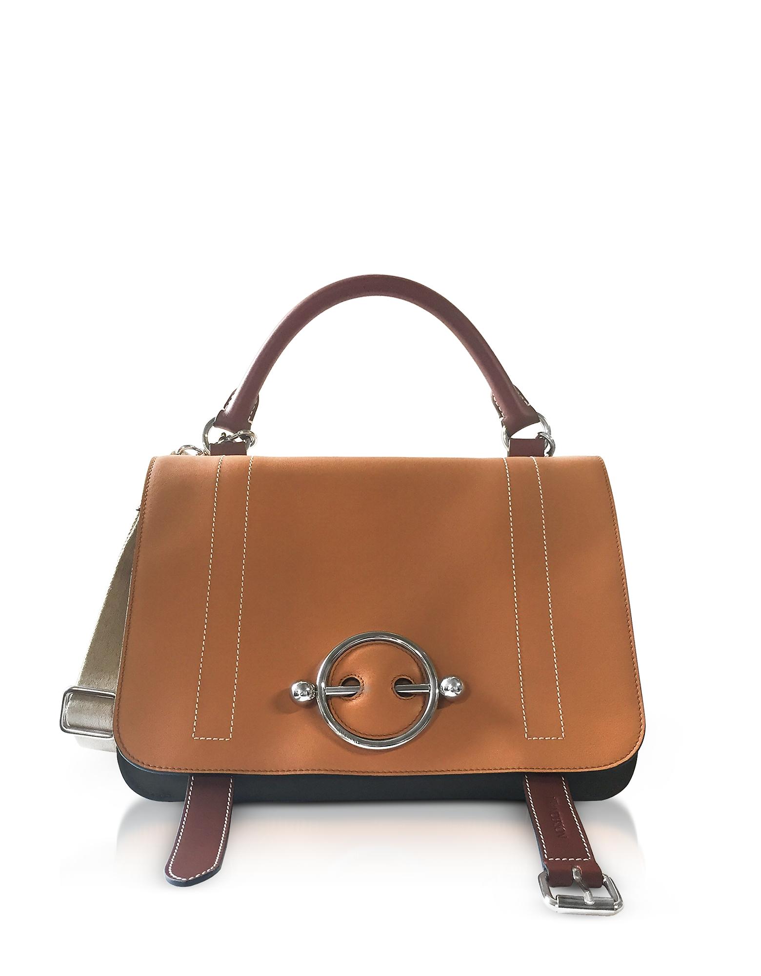 Chestnut Leather Disc Satchel Bag