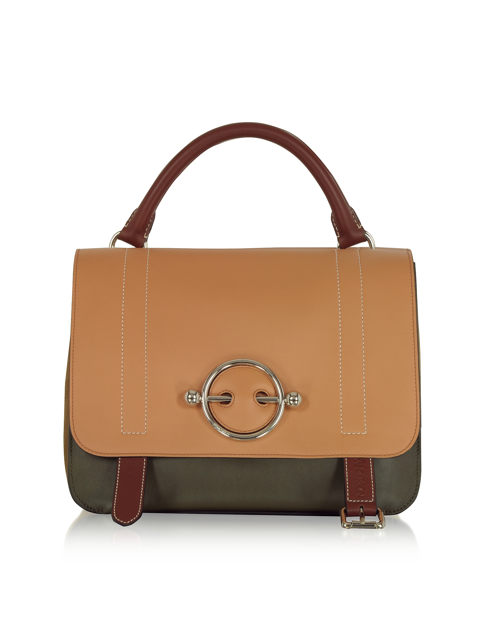 Image of JW Anderson Designer Handbags, Chestnut Leather Disc Satchel Bag