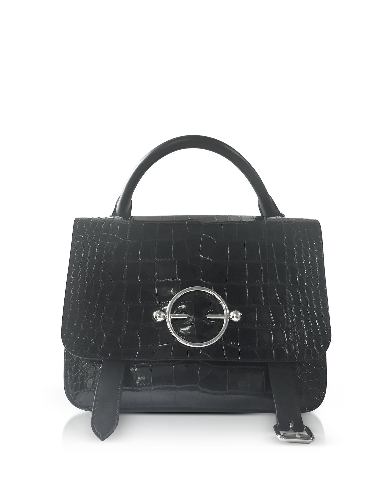 Black Croco Embossed Leather Disc Satchel Bag