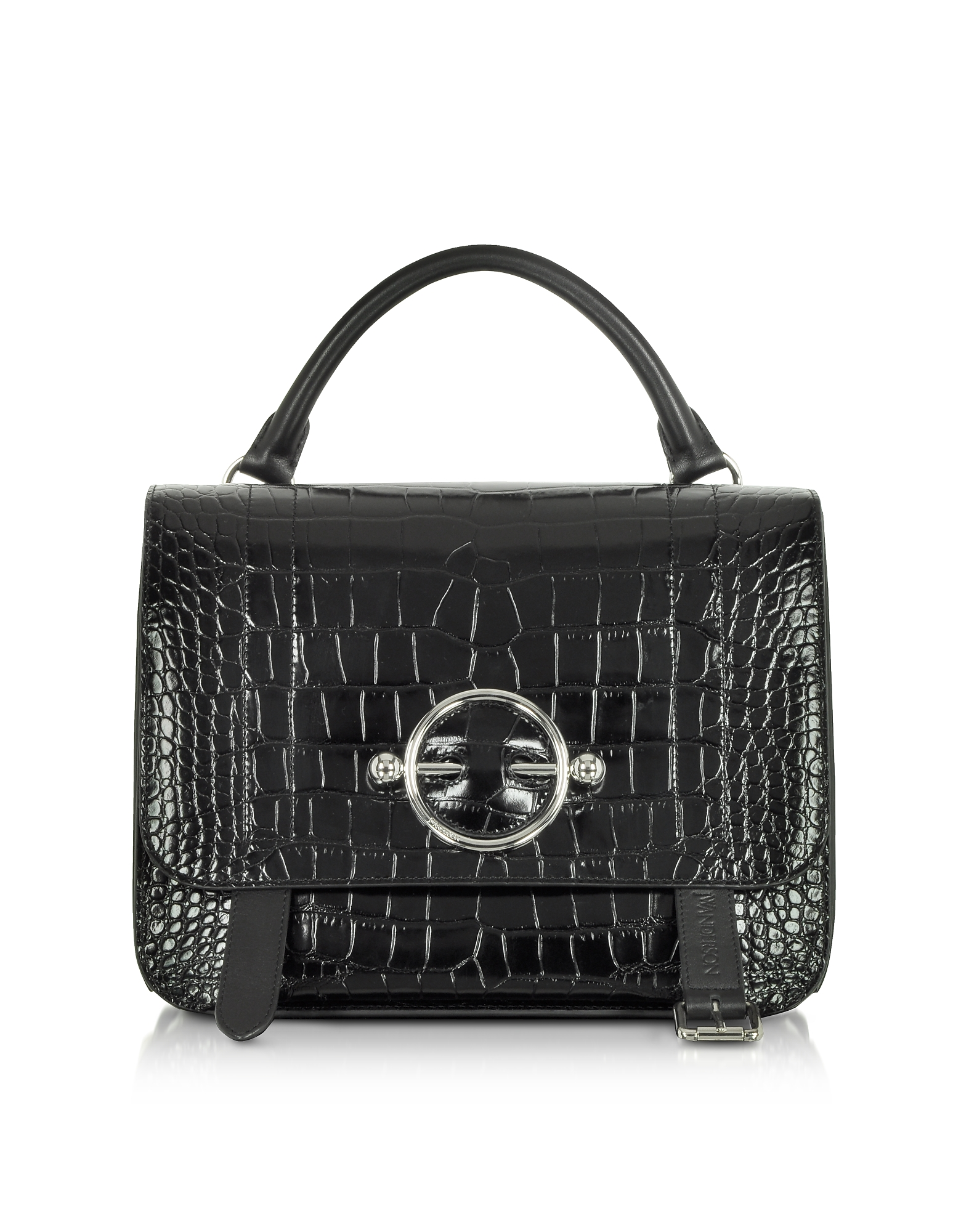 Image of JW Anderson Designer Handbags, Black Croco Embossed Leather Disc Satchel Bag