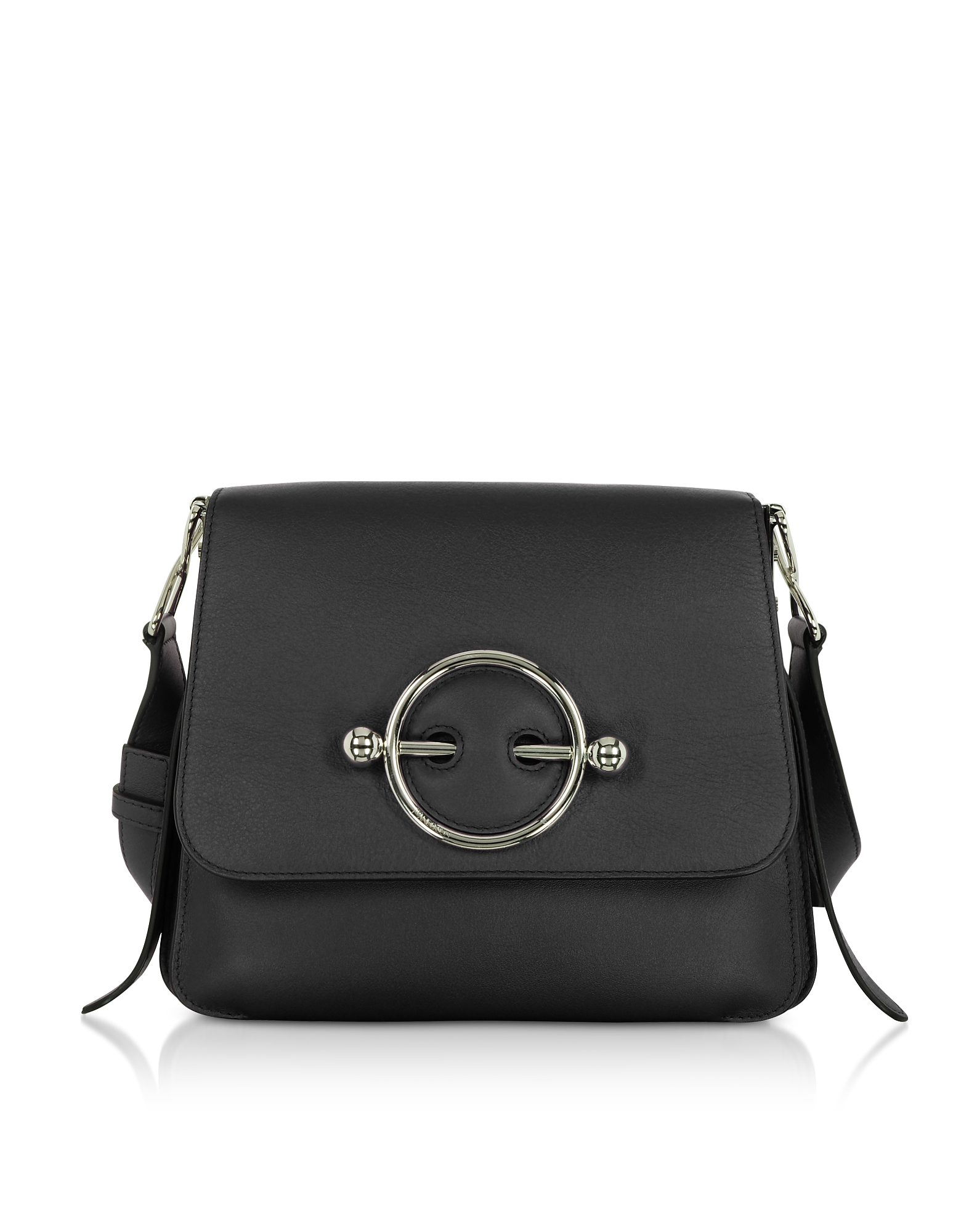 Image of JW Anderson Designer Handbags, Black Leather Disc Bag