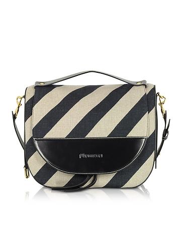Black and Off White Striped Linen Moon Shoulder Bag