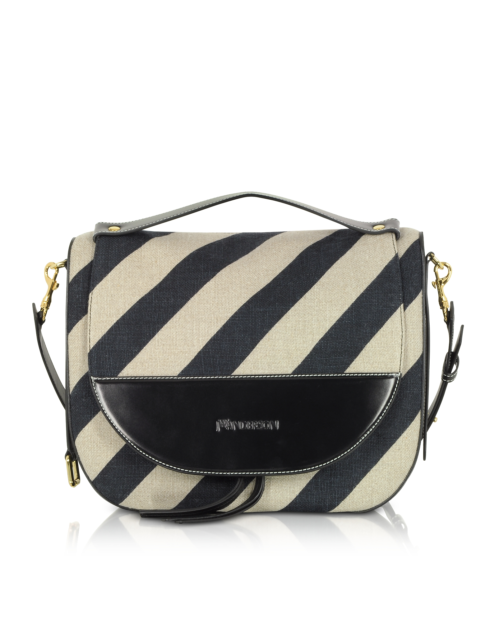 Image of JW Anderson Designer Handbags, Black and Off White Striped Linen Moon Shoulder Bag