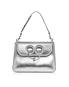 Silver Leather Medium Pierce Metallic Bag - J.W. Anderson