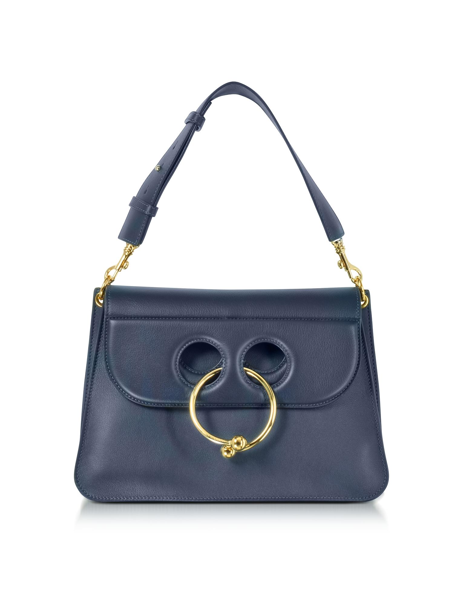 J.W. Anderson Handbags, Navy Leather Medium Pierce Bag