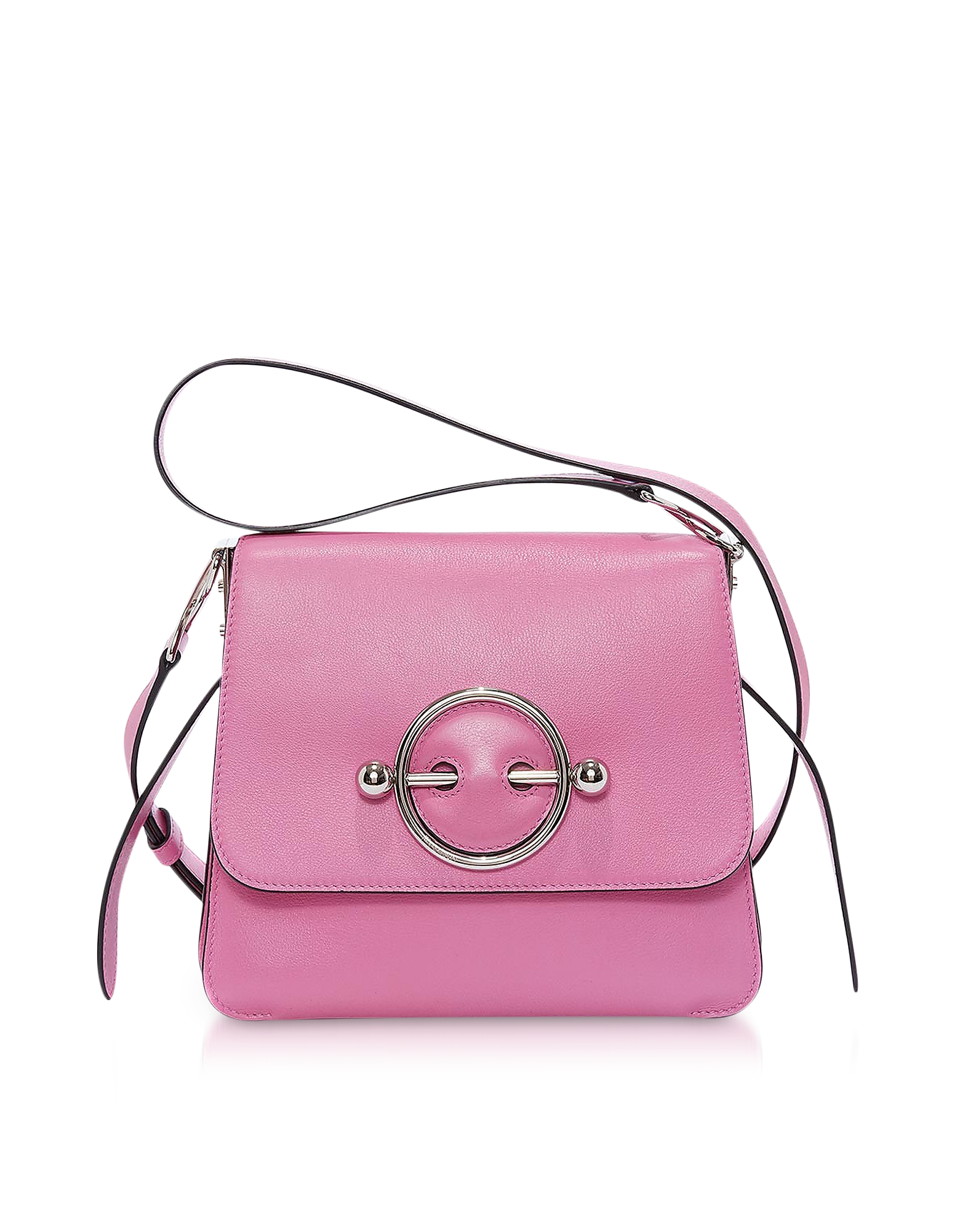 Image of JW Anderson Designer Handbags, Camellia Smooth Calf Leather Disc Bag