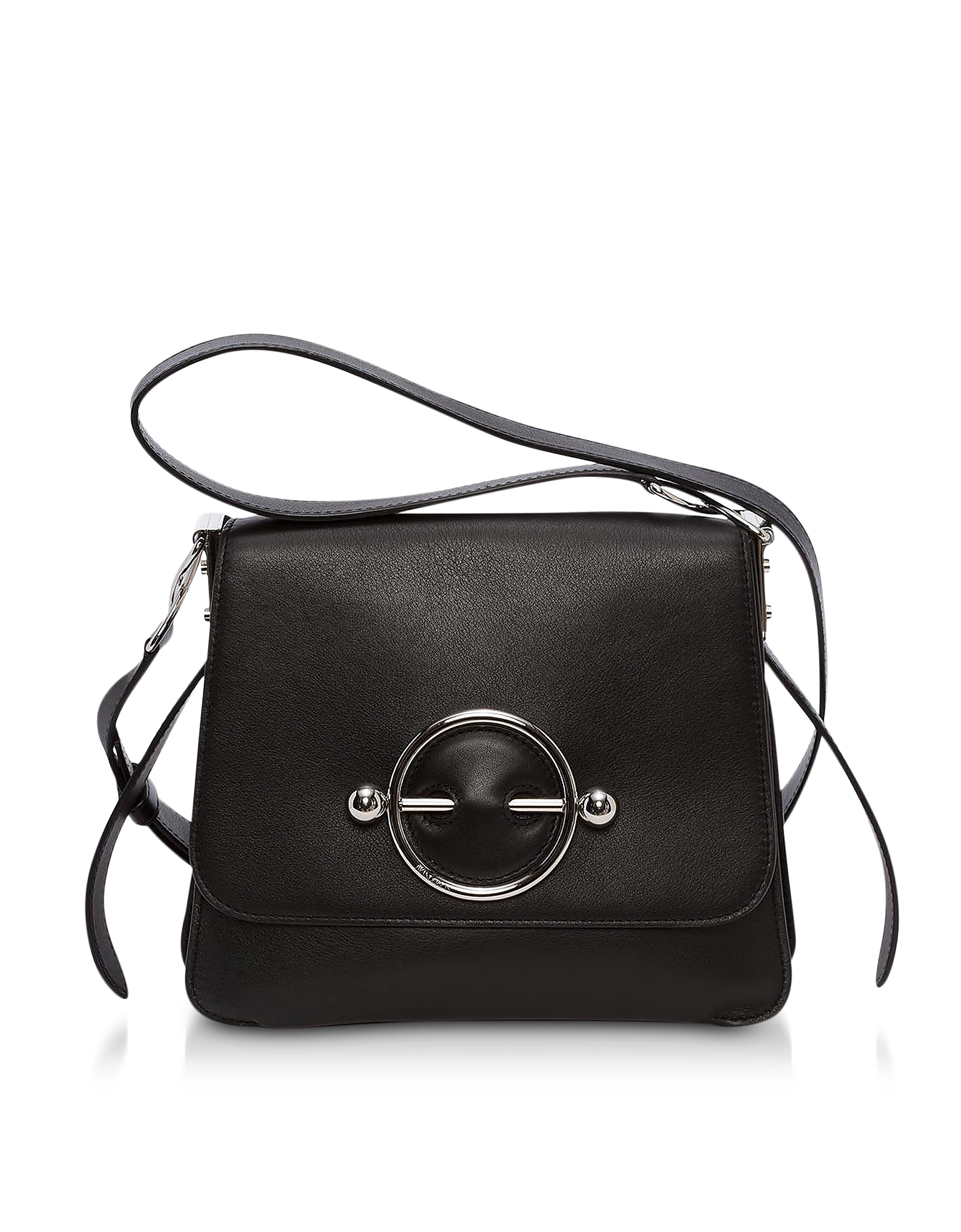 Image of JW Anderson Designer Handbags, Black Suede and Calf Leather Disc Bag