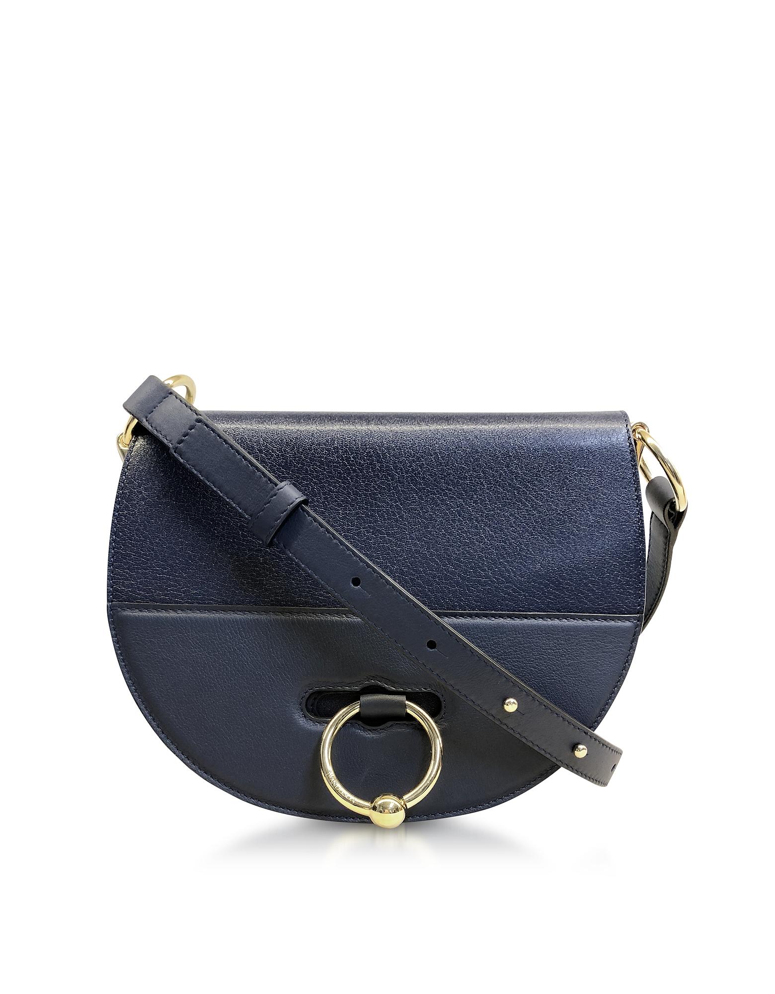 Flap Top Leather Latch Bag w/Shoulder Strap