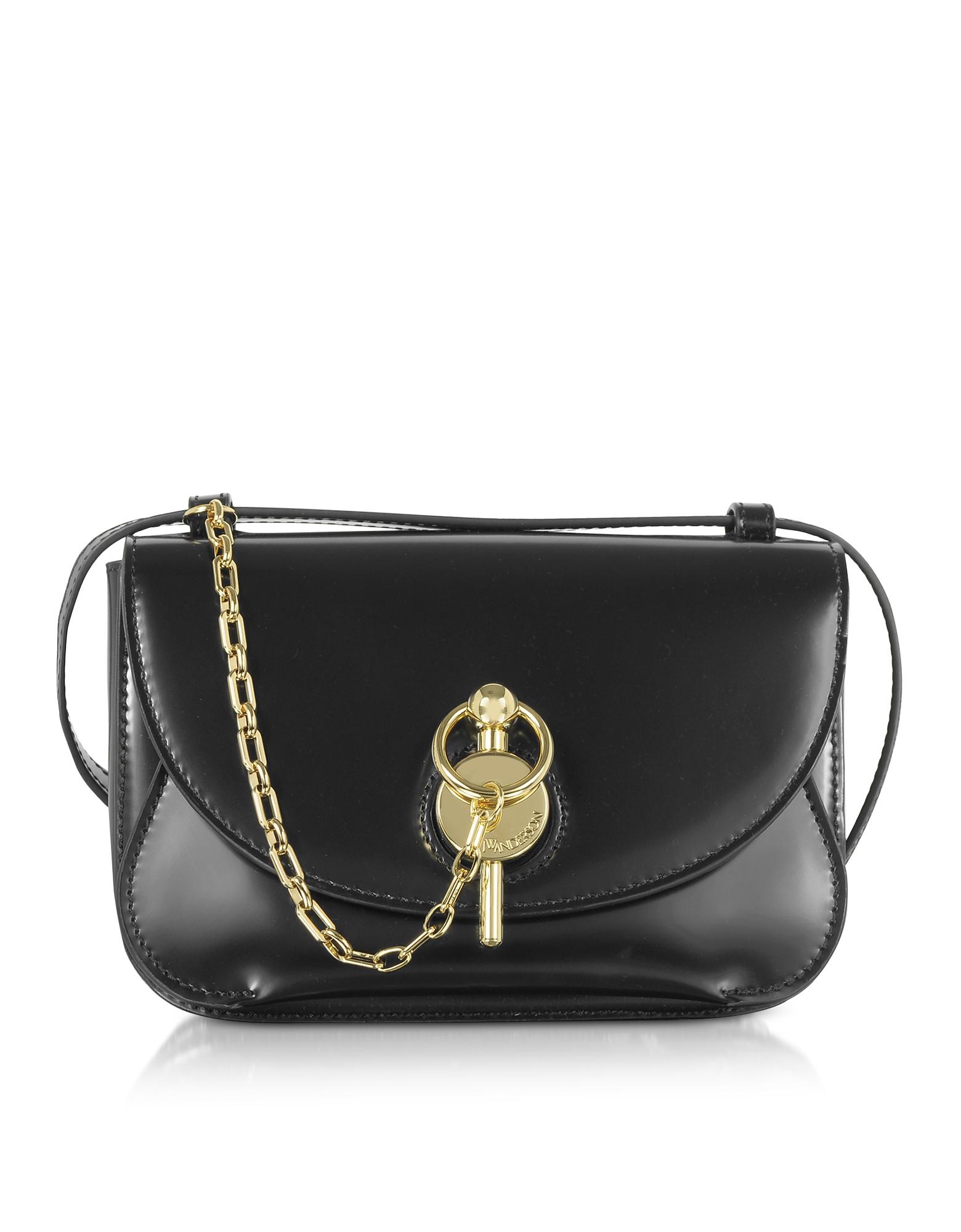 JW Anderson Designer Handbags, Black Midi Keyts Crossbody Bag
