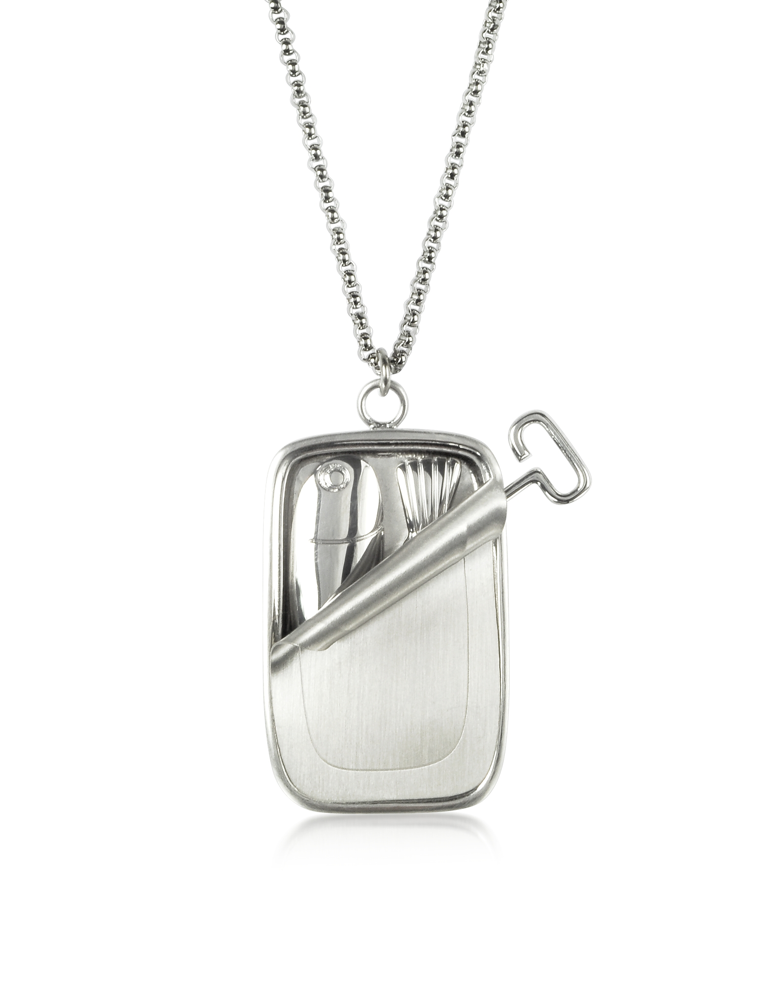 Jw Anderson Sardine Tin Pendant Necklace in Silver
