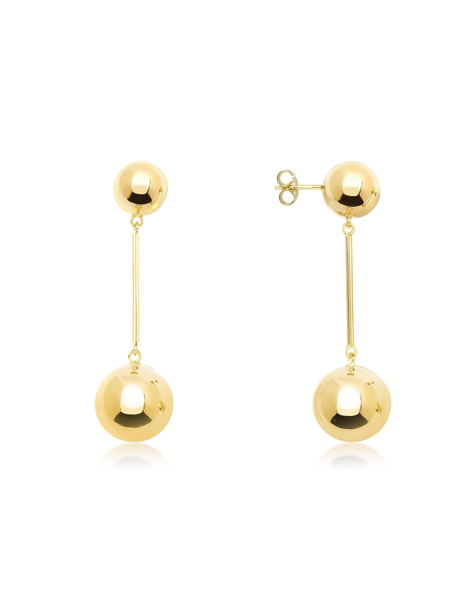 Gold Small Sphere Drop Earrings