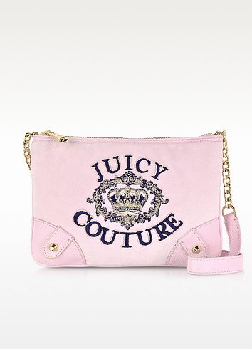 Juicy Crown Pink Velour Crossbody - Juicy Couture