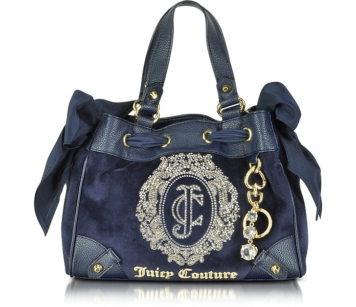 Ornate Monogram Velour Mini Daydreamer Satchel - Juicy Couture