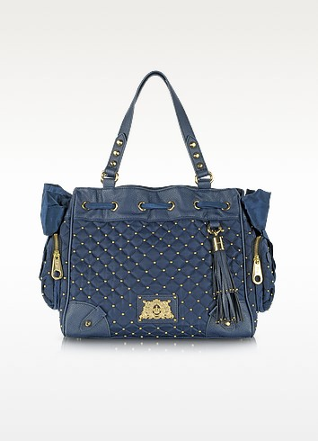 Blue Quilted Nylon and Leather Tote - Juicy Couture