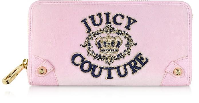 Pink Lady Juicy Crown Velour Zip Continental Wallet - Juicy Couture