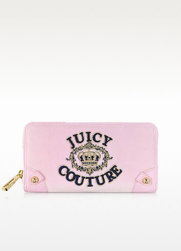Pink Lady Juicy Crown Velour Zip Continental Wallet - Juicy Couture