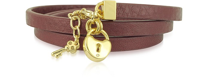Triple Burgundy Leather Wrap Padlock Leather Bracelet - Juicy Couture