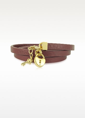 Triple Burgundy Leather Wrap Padlock Leather Bracelet - Juicy Couture