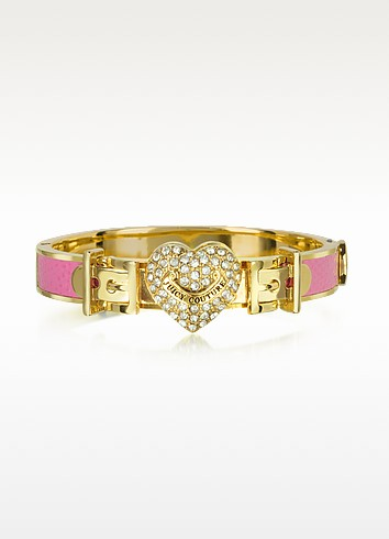Pave Heart Thin Leather Bangle - Juicy Couture
