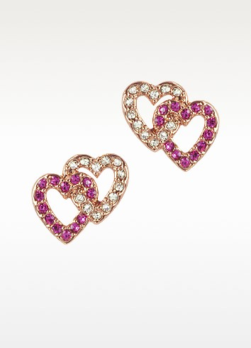 Pave Double Heart Stud Earrings - Juicy Couture