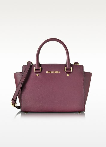 Selma Plum Saffiano Leather Medium Top Zip Satchel - Michael Kors