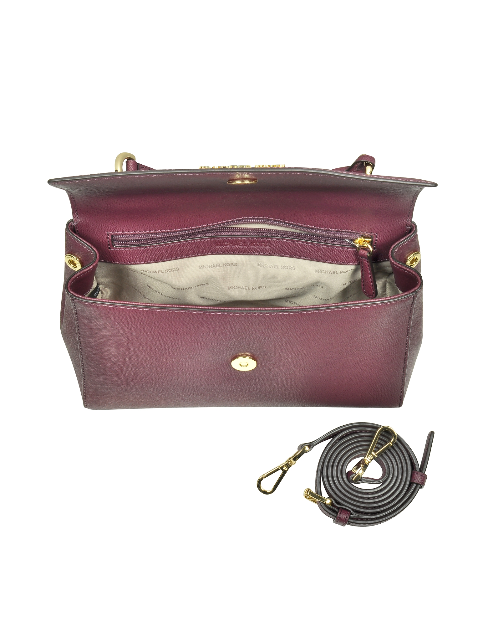 Ava Small Plum Saffiano Leather Satchel Bag от Forzieri.com INT