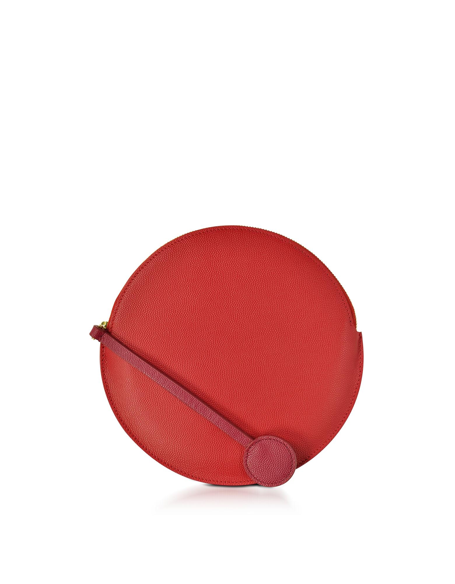 Roksanda Handbags, Red Leather Round Clutch