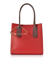 Red and Chestnut Leather Mini Weekend Bag - Roksanda