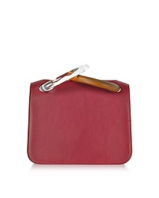Cherry Leather Neneh Bag w/Wooden and Plexiglass Handles - Roksanda