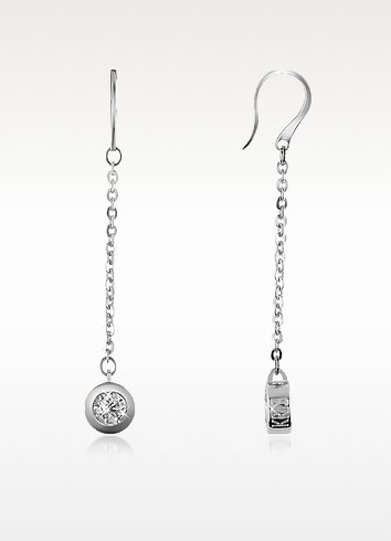 Stella - White Stone Bronze Drop Earrings - Kris
