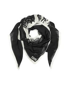 Keffieh à Franges en Modal et Soie Noir/Blanc avec Imprimé Portrait - Karl Lagerfeld