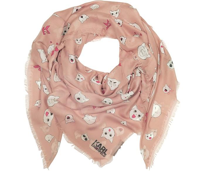 Quartz Pink Silk-mix Wrap w/Choupette Faces - Karl Lagerfeld