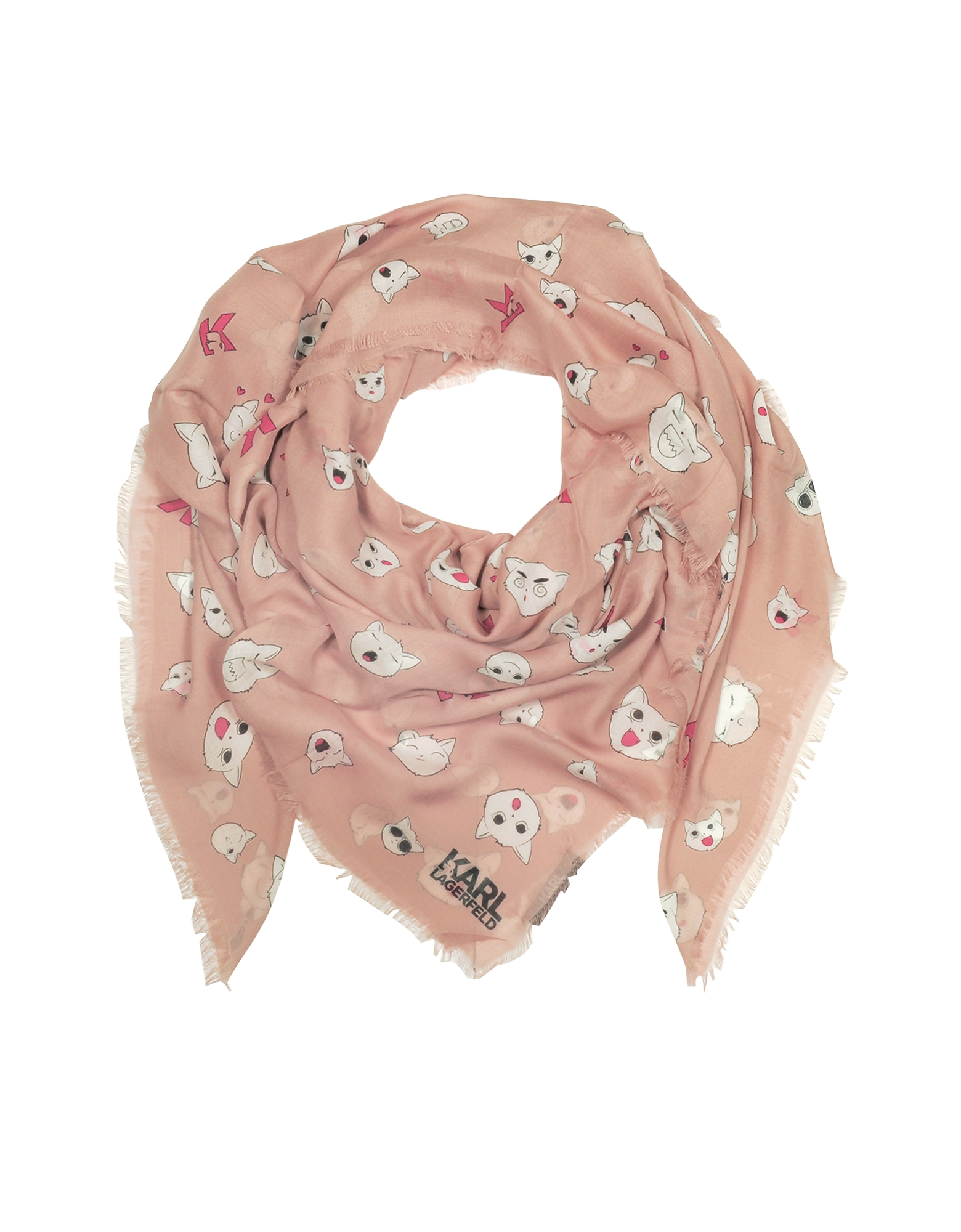 Karl Lagerfeld Shawls & Wraps, Quartz Pink Silk-mix Wrap w/Choupette Faces