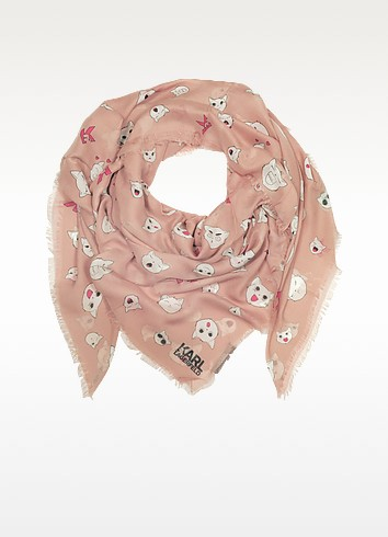 Quartz Pink Silk-mix Wrap w/Choupette Faces - Karl Lagerfeld